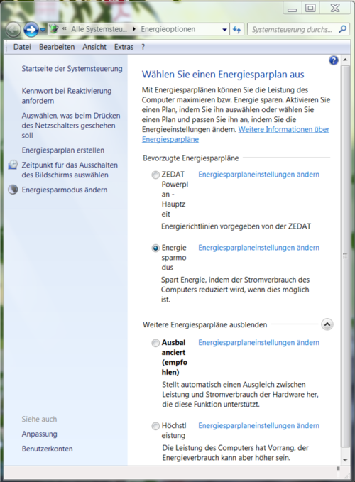 Windows/Energiesparplan