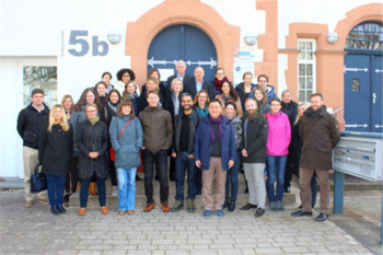 Experts and attendees in front of the Marburg Convention Center, 2016